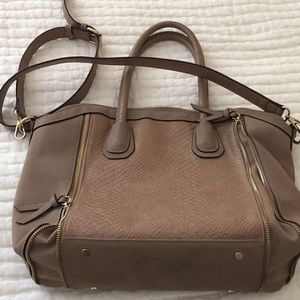 Sole Society taupe zipper detail shoulder bag